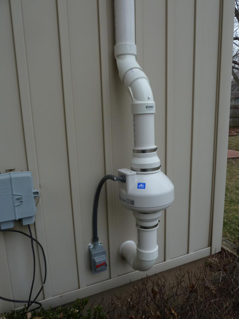 Radon Fan and required disconnect switch on home exterior